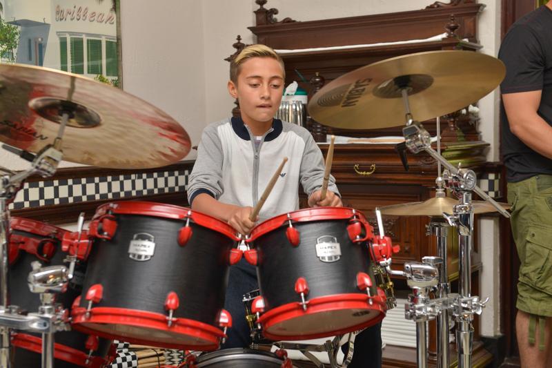 2 Nicholas Collins, son of Phil Collins performing a drum solo.jpg